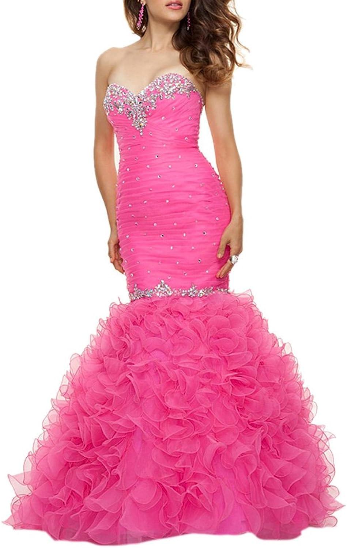 Dearta Women's Mermaid Trumpet Sweetheart FloorLength Tulle Prom Dresses
