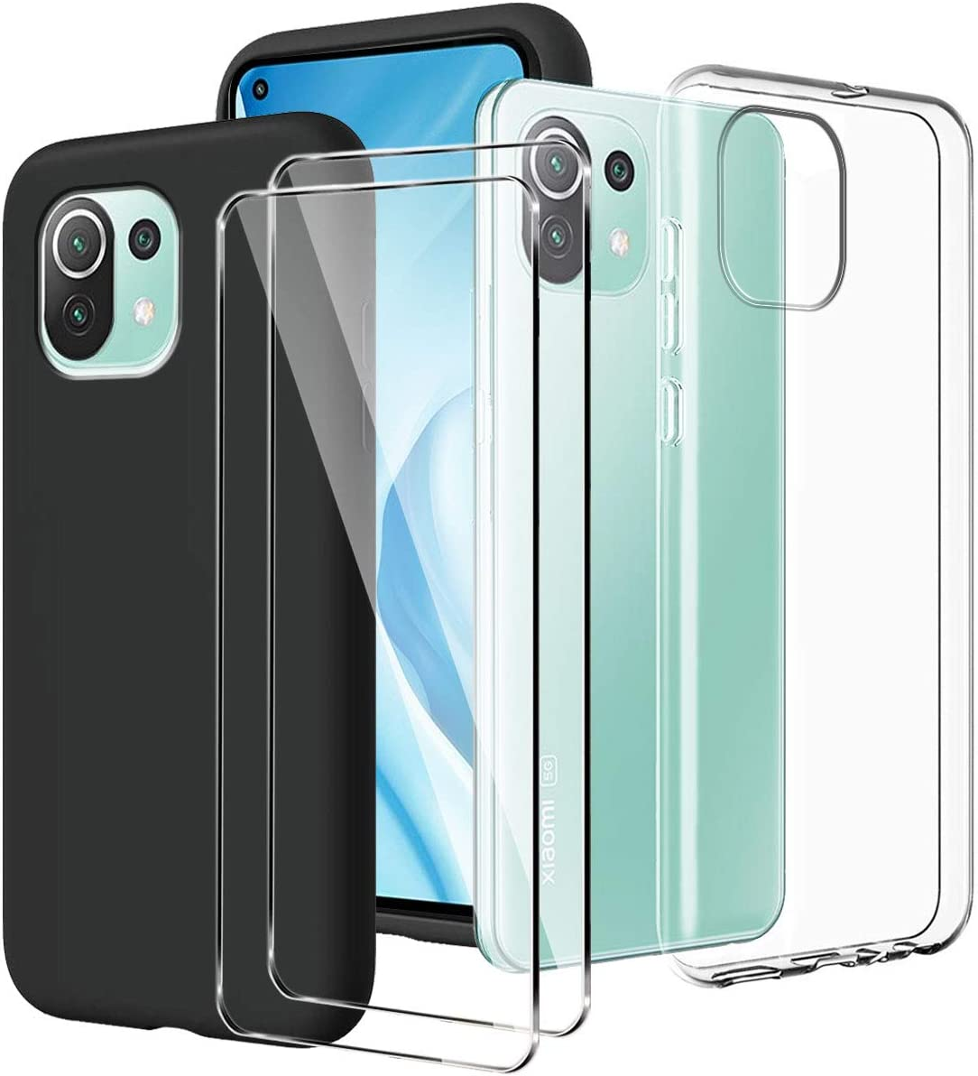 LYZXMY Funda para Xiaomi Mi 11 Lite 5G / 4G Transparente + Negro Carcasa + [2 Piezas] Vidrio Templado Película Protectora - Silicona TPU Suave Caso Case para Xiaomi Mi 11 Lite (6.55