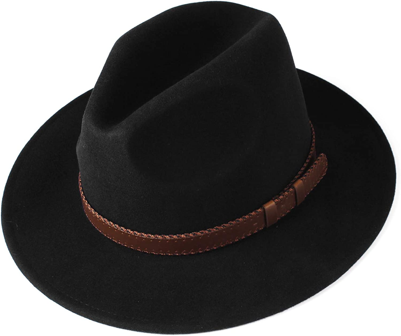 FURTALK Fedora Hats for Men Women 100/% Australian Wool Felt Wide Brim Hat Leather Belt Crushable Packable