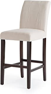Home Direct Natural Beige Contemporary Classic Set of 2 Microfiber Upholstered Bar Stools 30 Inch Seat Height with Back