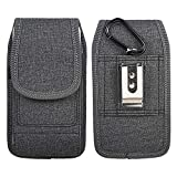 Luxmo Vertical Samsung Galaxy A11 Belt Clip Holster - Rugged Nylon Phone Pouch Carrying Case (2 Card Slots/Pen Holder) and Atom Wipe - Dark Gray