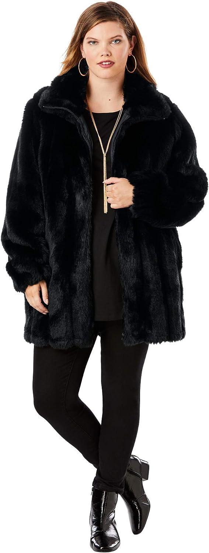 Roaman's Women's Plus Size Short Faux-Fur Coat