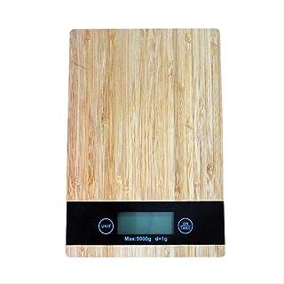 PMWLKJ Báscula de grano de madera de bambú Báscula electrónica de precisión Báscula para hornear 5 kg Báscula electrónica de cocina Dropshipping 23 * 6.1 cm B