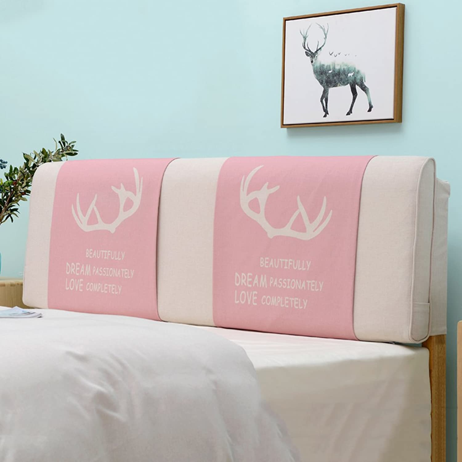 WENZHE Upholstered Fabric Headboard Bedside Cushion Pads Cover Bed Wedges Backrest Waist Pad Cloth Art Large Back Princess Wind Bedside Soft Case Sofa Pillow Washable, There Is Headboard   No Headboard, 6 colors, 7 Sizes Optional ( color   1  , Size   Wit