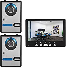 Videodeurbel, intercom, appartement 7 inch videodeurtelefoon Home Security System Kit, 2 nachtzichtcamera's voor buiten + ...