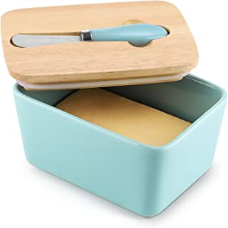 DOWAN Butter Dish with Lid, Porcelain Butter Container, Large Butter Dish with Steel Knife, Blue