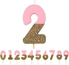 Talking Tables Pink Number 2 Birthday Candle with Gold Glitter   Premium Quality Cake Topper Decoration Pretty, Sparkly fo...