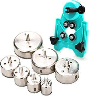 Best Hole Saw Set,7Pcs Diamond Drill Bits with Hole Saw Guide Jig Fixture, 1/1.2/1.6/2/2.4/2.8/3.15 inch Coated Core Drill Bits, Adjustable Hole Saw Centering Locator Suction Holder for Glass,Ceramics,Tile Review