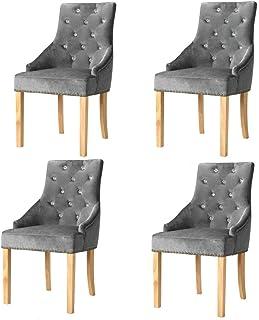 Tidyard Sillas de Comedor Set para Comedor/salón/Juego de sillas para Cocina Roble Macizo y Terciopelo Plateado 4 Unidades