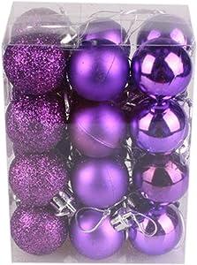 Goddesslili Xmas Ball Ornaments 24-Pack 30mm Christmas Tree Ball Bauble Hanging Home Party Decor (Purple)