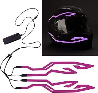 4PCS Motorcycle LED Night Riding Signal Helmet EL Cold Light 4Mode Led Bike Helmet Light Strip decoration Kit Bar Accessories(Purple)