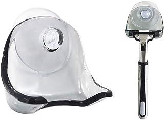 Aiboco 吸盤付きカミソリホルダー クリアシェーバーフック 取り外し可能 再利用可能 バスルーム用壁掛けハンガー カミソリ用 (グレークリア)