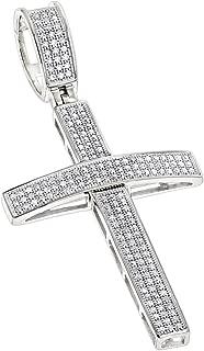 14K or 10K Gold Round Pave Set Natural 0.5 Ctw Diamond Cross Pendant