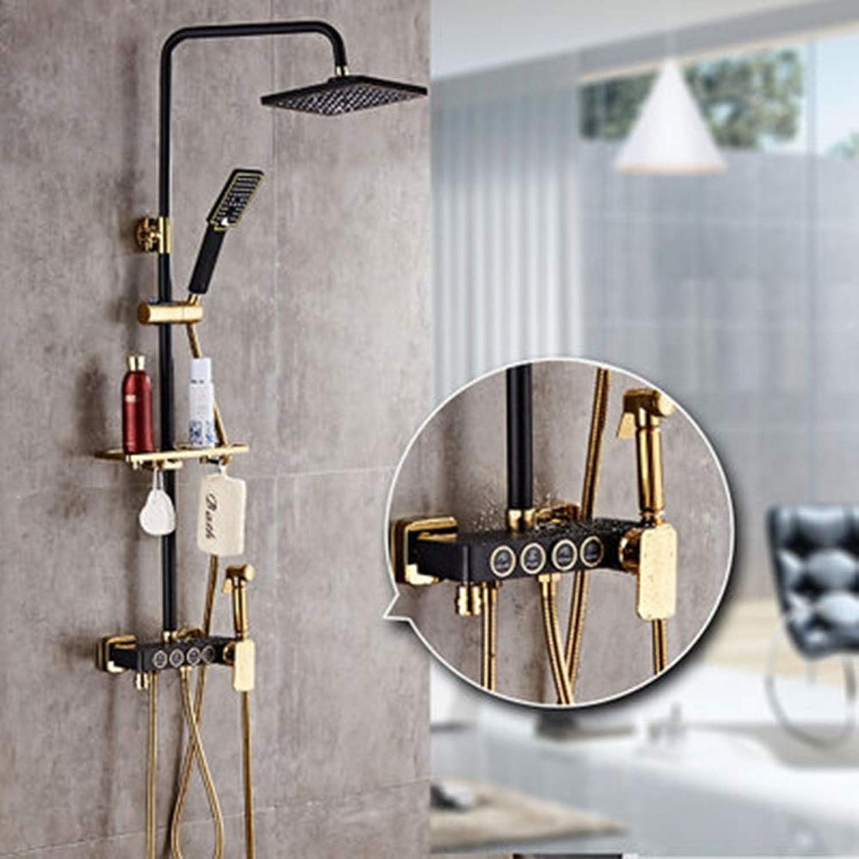 Alle Kupfer Schwarz Dusche Badezimmer Set Booster Duschkopf Viergang Hotel Badezimmer Duschset Feste Duschkpfe