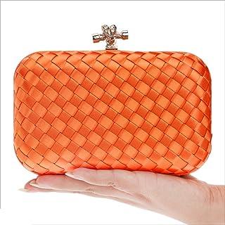 DIEBELLAU Ladies Clutch Bag Weaving Dinner Bag Fashion Banquet Bag Hand Evening Bag (Color : Orange, Size : XS)