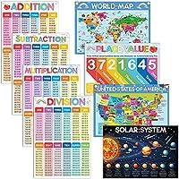8ピース 教育算数ポスター 子供学習 数学ポスター チャート ホームスクール 教育ポスター 乗算 部門 価値 太陽系など 幼稚園 教師 教室装飾