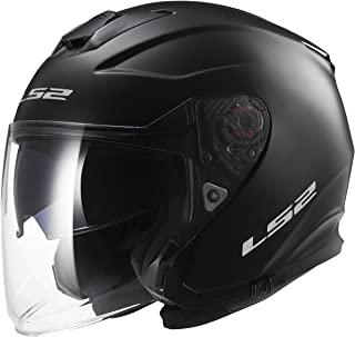 LS2 Helmets Infinity Solid Open Face Motorcycle Helmet with Sunshield (Matte Black, Large)