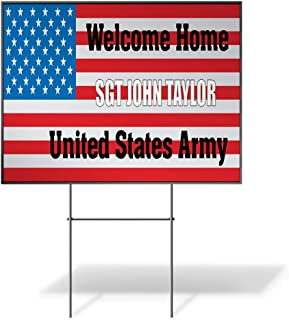 Custom Personalized Yard Sign Welcome Home Name U.S Army Flag US Flag Red One Side Print 18inx12in