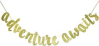 Firefairy Adventure Awaits Gold Glitter Banner , Graduation Banner , College Graduation High School Graduation Grad Banner