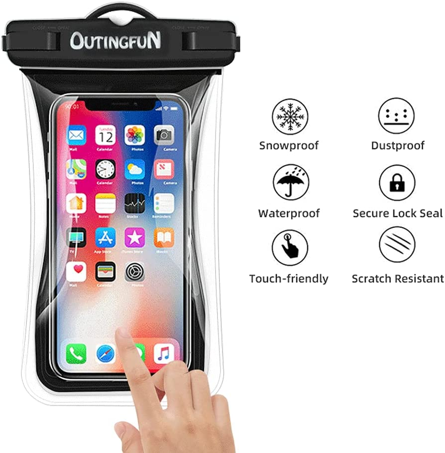 Outingfun Universal Waterproof Phone Pouch, TPU IPX8 Waterproof Cellphone Dry Bag, 100% Floating Bearing Weight 11Oz Phone Dry Bag with Phone Lanyard 2Pack (Black+Black)