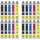 Go Inks E-715/711 Compatible Set de 4 + Noir Supplémentaire Cartouches d'encre pour remplacer T0711, T0712, T0713, T0714 (T0715) pour une utilisation avec les imprimantes Epson Stylus (Lot de 20)