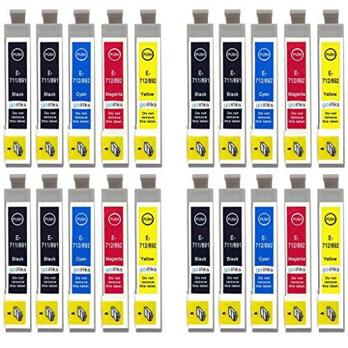 Go Inks E-715/711 Set di 4 Cartucce d'inchiostro in più Nero per sostituire Epson T0715 + T0711 Compatibile per Stampanti Epson Stylus (20 Inchiostri)