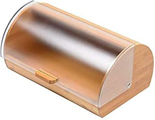 Blue Donuts Bread Box made of pure Bamboo with stylish Acrylic easy glide cover with handle