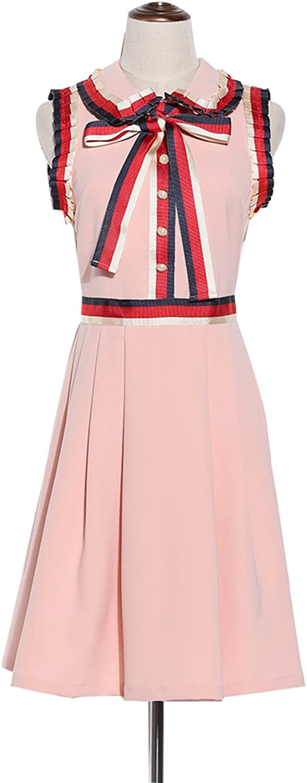 2017 Spring Summer Fashion Black Pink Sleeveless Bow Belt Buttons Peter Pan Collar Women Mini Dress