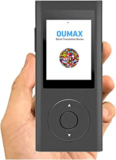 Translator Device,OUMAX TD02 Smart Real-time Voice Two-Way Multi Speech/Text WiFi 2.4 Inch IPS Touch Screen,Voice Recognition, Text to Speech, Push to Talk 38 Languages – Grey