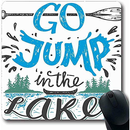 Mauspads für Computer Abenteuer Go Jump Lake House Sport Kajak Erholung Vintage Kanu Angeln River Camp Emblem Längliche Form Rutschfeste Längliche Gaming Mausunterlage 30X25CM