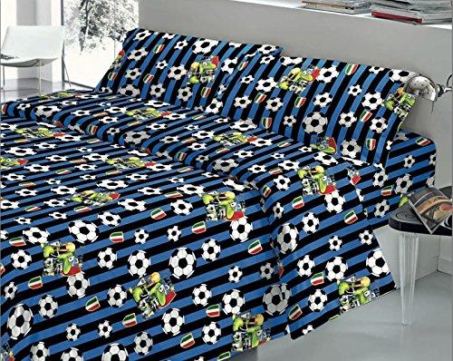 Quadrifoglio–Inter Mailand Farbe schwarz und blau Komplett Bett-Set für Single-Geschenkidee