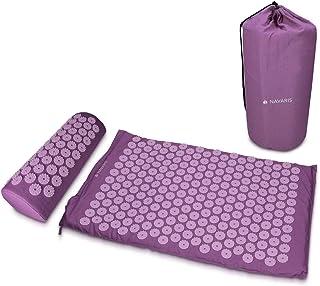 comprar comparacion Navaris Set de masaje de acupresión - Esterilla de acupuntura y almohada - Manta para alivio de contracturas musculares do...