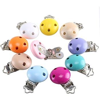 Holzclip Schnullerbandclip rund bunt farbig Clips Babykette