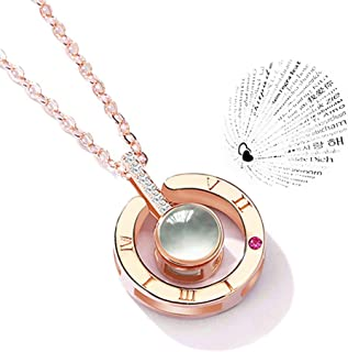 ATIMIGO Projective Memorial Love Pendant Necklace for Women Daughter with 100 Languages to Express I LoveYou