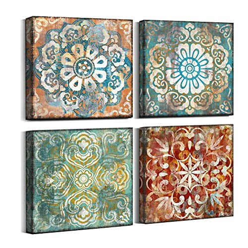 Vintage Flowers Pattern Canvas Prints Wall Art for Bedroom 14x14 inches 4 Pieces Framed Artwork Vintage Picture Ready to Hang for Home Bathroom Kitchen Office Decoration