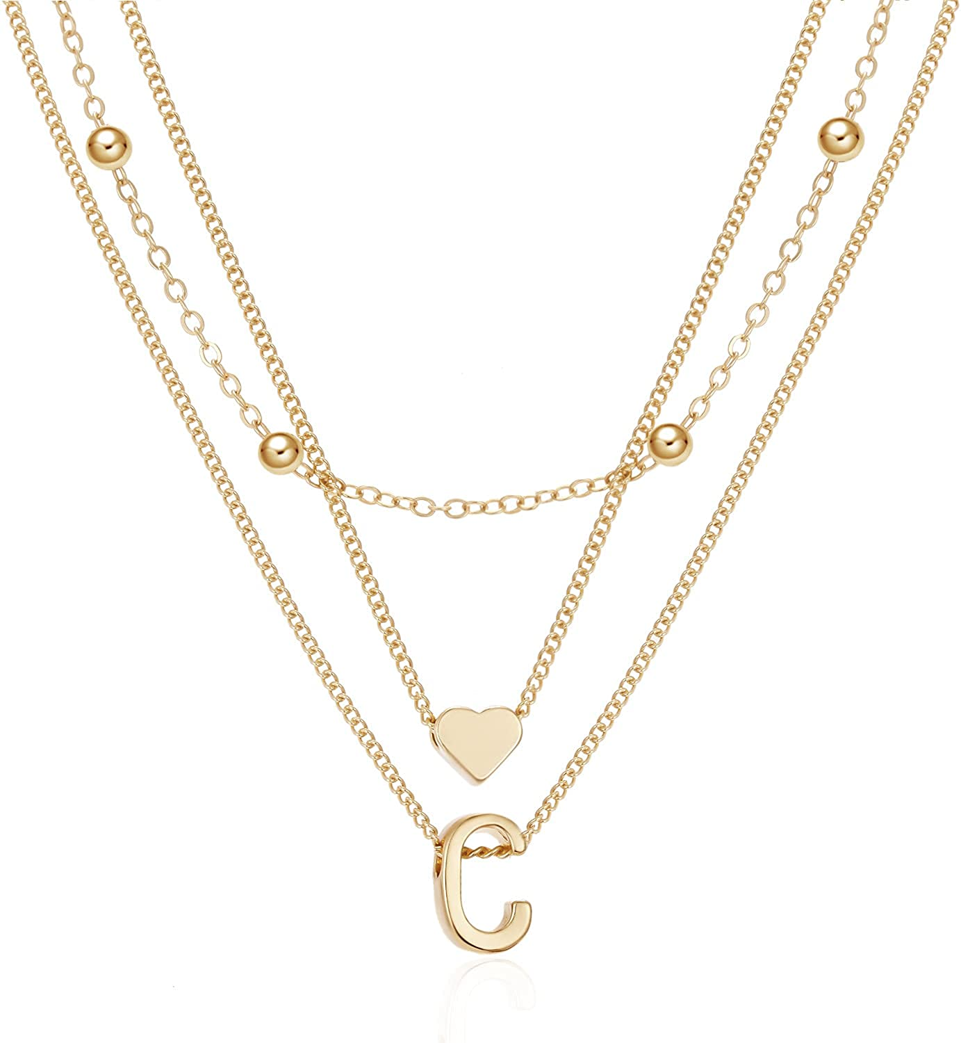 Super sale Dainty Gold Layered Initial Necklaces Max 85% OFF Cute For Simple Hea Women