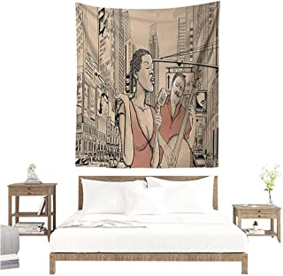 Agoza Jazz Music DIY Tapestry Jazz Singer with Double-Bass Player in a Street of New York Urban Lifestyle Home Decorations for Bedroom Dorm Decor 70W x 84L INCH Brown Beige