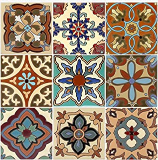 SnazzyDecal Tile Stickers 4-1/4 Inch 24pc Inch Kitchen Backsplash Bathroom Vinyl Waterproof Peel and Stick Mexican Talavera TR003