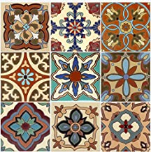 SnazzyDecal Tile Stickers 4-1/4 Inch 40pc Inch Kitchen Backsplash Bathroom Vinyl Waterproof Peel and Stick Mexican Talavera TR003