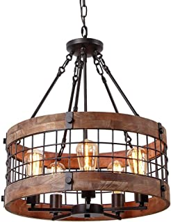 Industrial Wooden Cage Ceiling Light, SUN RUN Creative Retro 5-Light Fixture Chandeliers Vintage Metal Semi Flush Mount Pendant Lamp with Painted Finish for Dining Room Kitchen