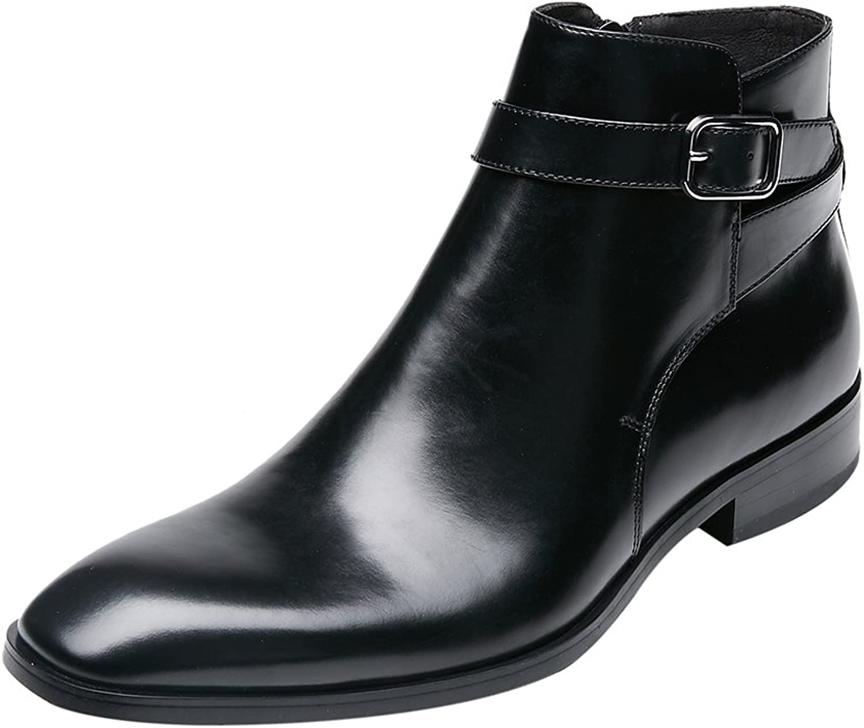 KINGSTEP Men's Fashion Leather Dress shoes Zipper Square Toe Ankle Boots
