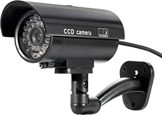Tomvision Bullet Dummy Fake Surveillance Security CCTV Dome Camera Indoor Outdoor 1 Flashing LED Light and Security Alert ...
