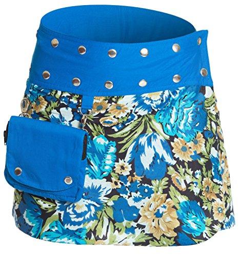 Damen Minirock aus Indien mit Tasche und 2 Mustern zum Wenden, Sommerrock kurz, Wenderock, Wickelrock Goa Gypsy Hüftschmeichler Rock - mit 18 Nieten Druckknöpfen, flexibel, Blau 2