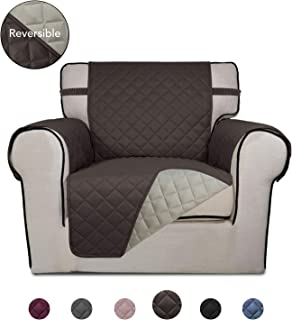 PureFit Reversible Quilted Sofa Cover, Water Resistant Slipcover Furniture Protector, Washable Couch Cover with Non Slip Foam and Elastic Straps for Kids, Dogs, Pets (Chair, Chocolate/Beige)