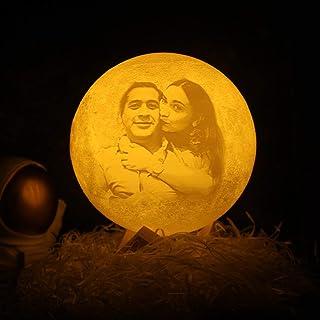 Lámpara de luna Luz de luna personalizada Luz de noche LED impresa en 3D con soporte Control táctil remoto para el amante de la familia del bebé Como regalo del día de San Valentín 4.7