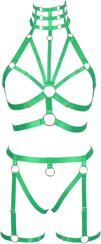 Full body harness for women Garter belt set Punk Plus size Bra Lingerie cage Gothic Chest strap Festival Rave Halloween