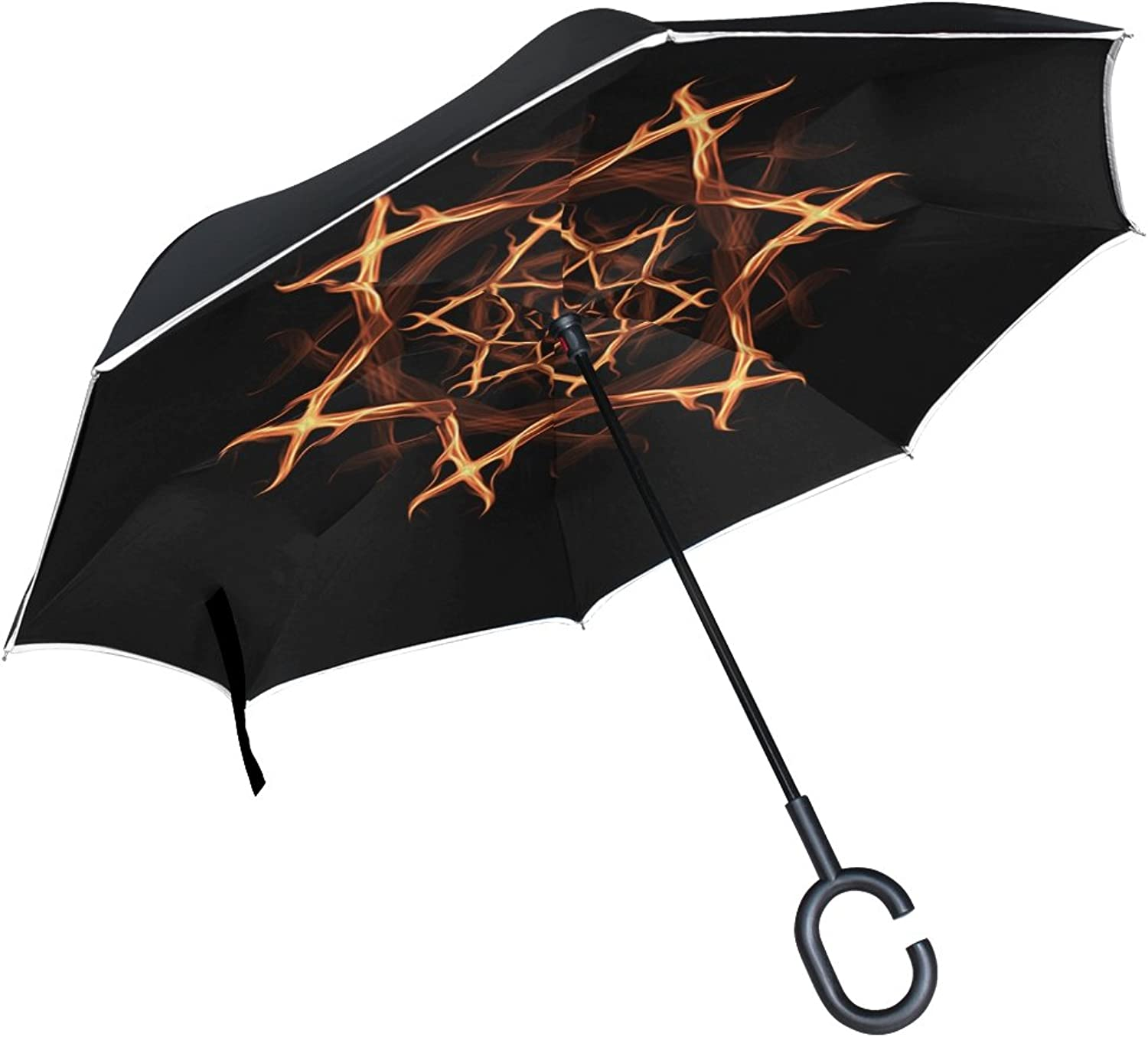 Double Layer Ingreened Pentagram Witches Pentagram Witch Esoteric Umbrellas Reverse Folding Umbrella Windproof Uv Predection Big Straight Umbrella for Car Rain Outdoor with CShaped Handle