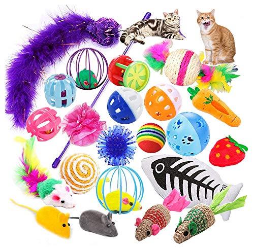 HuluBB 16 Stück Katzenspielzeug-Set Mäuse Bell Spielzeug Crinkle Ball Teaser Zauberstab