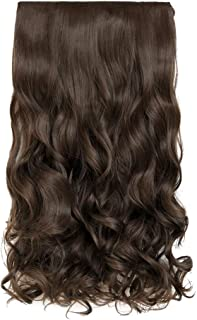 "REECHO 20"" 1-pack 3/4 Full Head Curly Wave Clips in on Synthetic Hair Extensions Hair pieces for Women 5 Clips 4.6 Oz Per Piece - Dark Chocolate Brown"