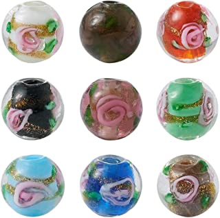 Craftdady 200Pcs Random Mixed Colors Handmade Gold Sand Lampwork Glass Flower Inlaid Round Spacer Loose Beads 10mm for DIY Jewelry Craft Making